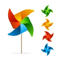 Colorful windmill set vector