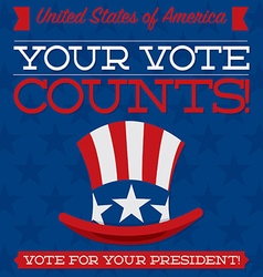 Retro style american election typographic card in vector