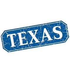 Texas blue square grunge retro style sign vector