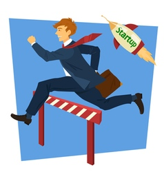 Running businessman jumping over barrier vector