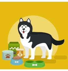 Cartoon of husky with food bowl vector