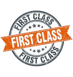 First class round orange grungy vintage isolated vector