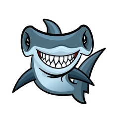 Happy cartoon hammerhead shark character vector