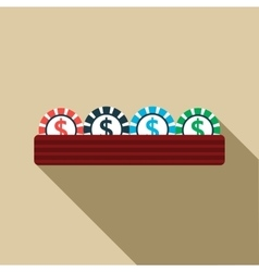 Casino gambling chips icon flat style vector
