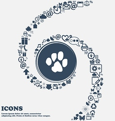 trace dogs icon sign in the center Around the many vector image
