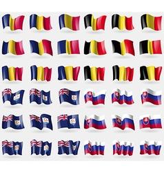 Chad belgium anguilla slovakia set of 36 flags of vector