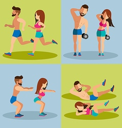 Couple running and weight training basic for vector