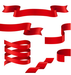 Curled red ribbons collection of ribbon banners vector