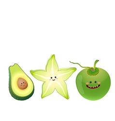 Cute fruits avocado star fruit coconut vector