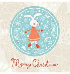 Cute rabbit girl christmas card vector
