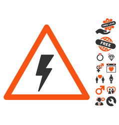 Electricity shock warning icon with valentine vector