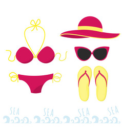 Female outfit for a holiday at sea set of clothes vector