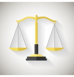 Flat design law symbol justice scales icon on grey vector