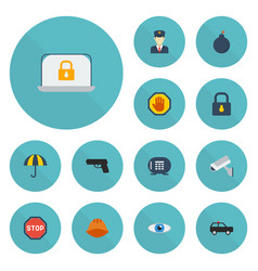flat icons hardhat camera lock and other vector image vector image