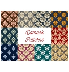 Floral damask seamless pattern background set vector image vector image