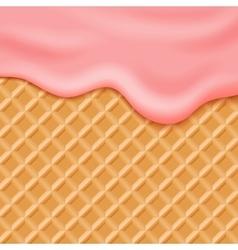 Flowing pink glaze on wafer background vector