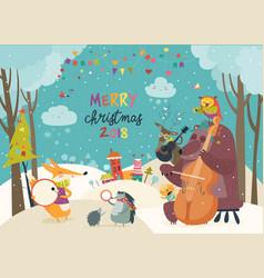 Happy animals celebrating christmas vector