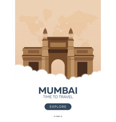 India mumbai time to travel travel poster vector