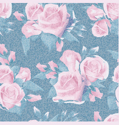 Light blue denim with colorful floral pattern vector