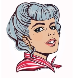 Portrait of pretty young woman with pin up style vector