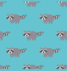 Raccoons in a cartoon style seamless pattern vector