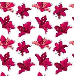 Seamless floral pattern with stylized lilies Red vector image