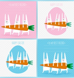 Set of 4 greeting cards with rabbits Easter vector image