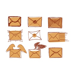 Set Of Drawn Messages vector image vector image