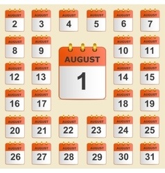 Set of icons for the calendar in august vector