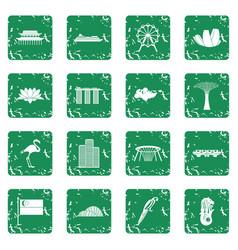 Singapore icons set grunge vector