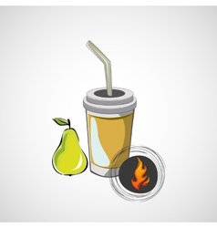 sketch paper cup with straw and pear vector image vector image