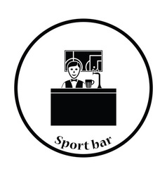 Sport bar stand with barman behind it and football vector image vector image