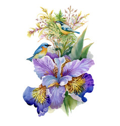 summer watercolor flowers and birds on white vector image