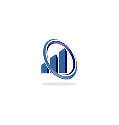 swoosh chart business logo vector image vector image