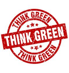 Think green round red grunge stamp vector