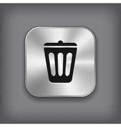 Trash can icon - metal app button vector