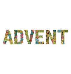 Word advent decorative zentangle object vector