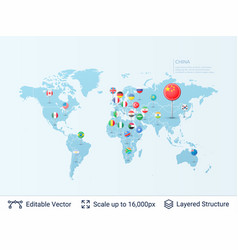 world map with flags vector image