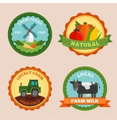 Flat farm emblem set vector