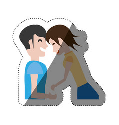 Couple laughing together shadow vector