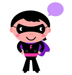 Cute superhero boy with speech bubble vector image