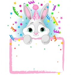 bunny birthday invitation vector image