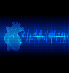 Heart rhythm ekg on blue background vector