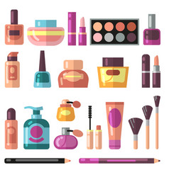 Girl accessories beauty and makeup flat vector
