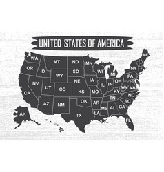poster map of united states of america with state vector image