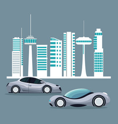 futuristic city landscape silhouette with colorful vector image