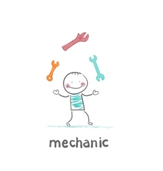 Mechanic juggling keys vector