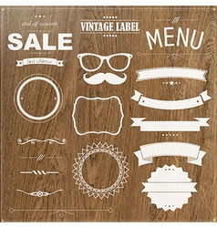 Set Of Vintage Badges With Wood Background vector image