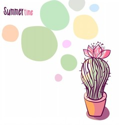 Background with blooming cactus vector
