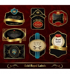 Set black gold framed labels vector